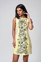 Желтое летнее платье с цветочным принтом
