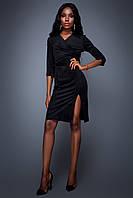 Эффектное Платье с Разрезом Замшевое Черное S-XL