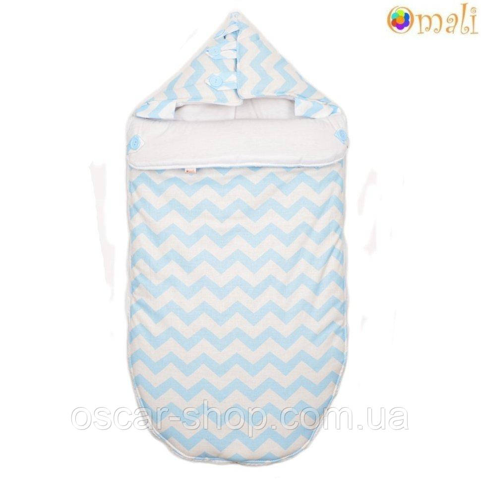 Конверт для новонародженого «Малюк» Omali, блакитний зигзаг