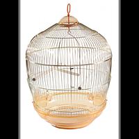 Клетка золотая для средних птиц, круглая.