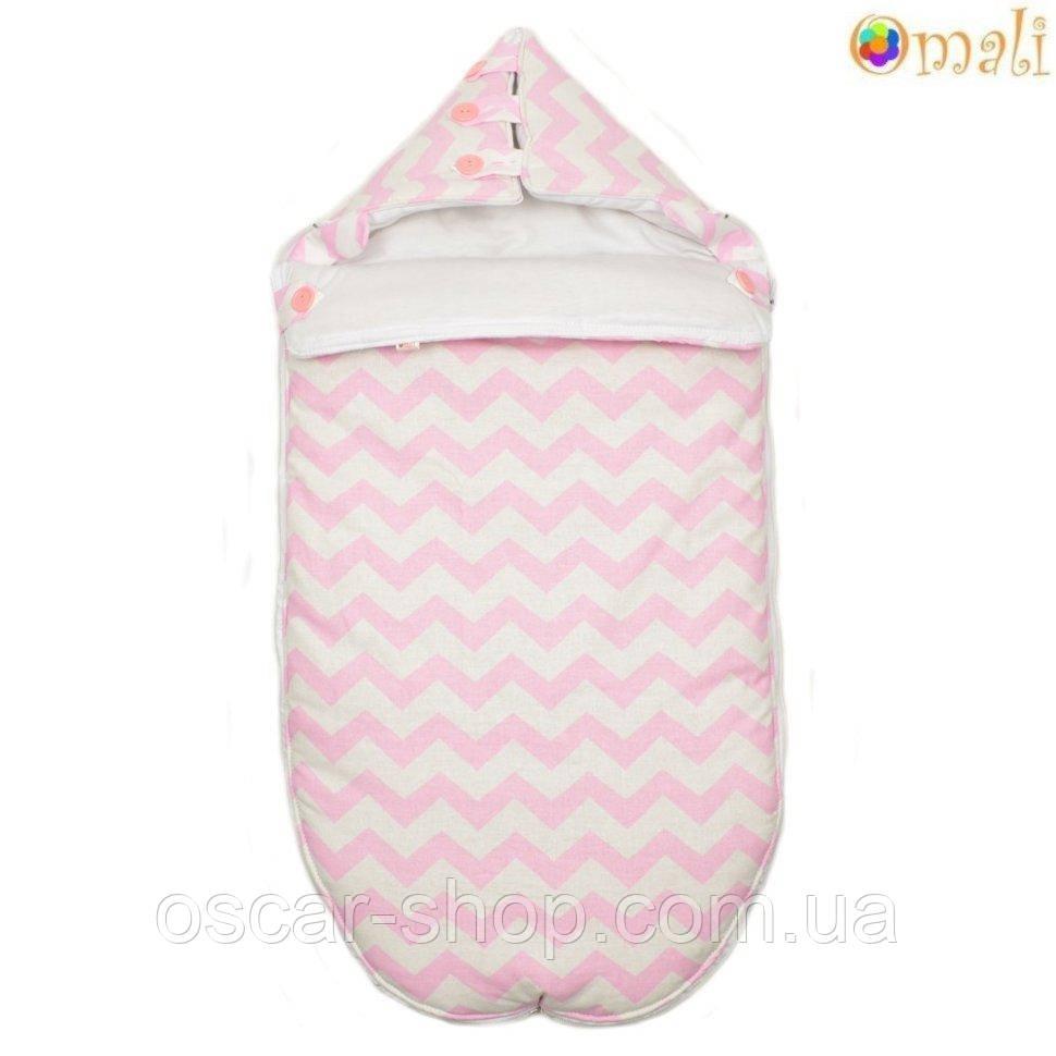 Конверт для новонародженого «Малюк» Omali, рожевий зигзаг