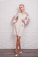 Платье-вышиванка Очарование с рукавами-фонариками светло-бежевого цвета