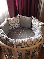 Подарочный комплект в круглую кроватку. одеяло,защита, постельное белье.