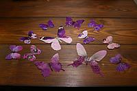 Бабочки зеркальные для декора интерьера фиолетовые