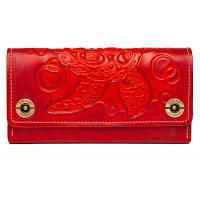 Кошелек-клатч женский кожаный красный, фото 1
