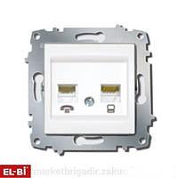 Розетка комп.+телефон Zena модуль белый (RJ45 Cat5+RJ 11) 609-010200-231