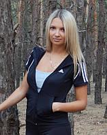 """Спортивная кофта женская Adidas """"Триколор"""" с коротким рукавом. Распродажа черный с белыми лампасами, 42"""