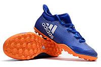 Футбольные сороконожки adidas X Tango 17.3 TF Shock Blue/White/Solar Red