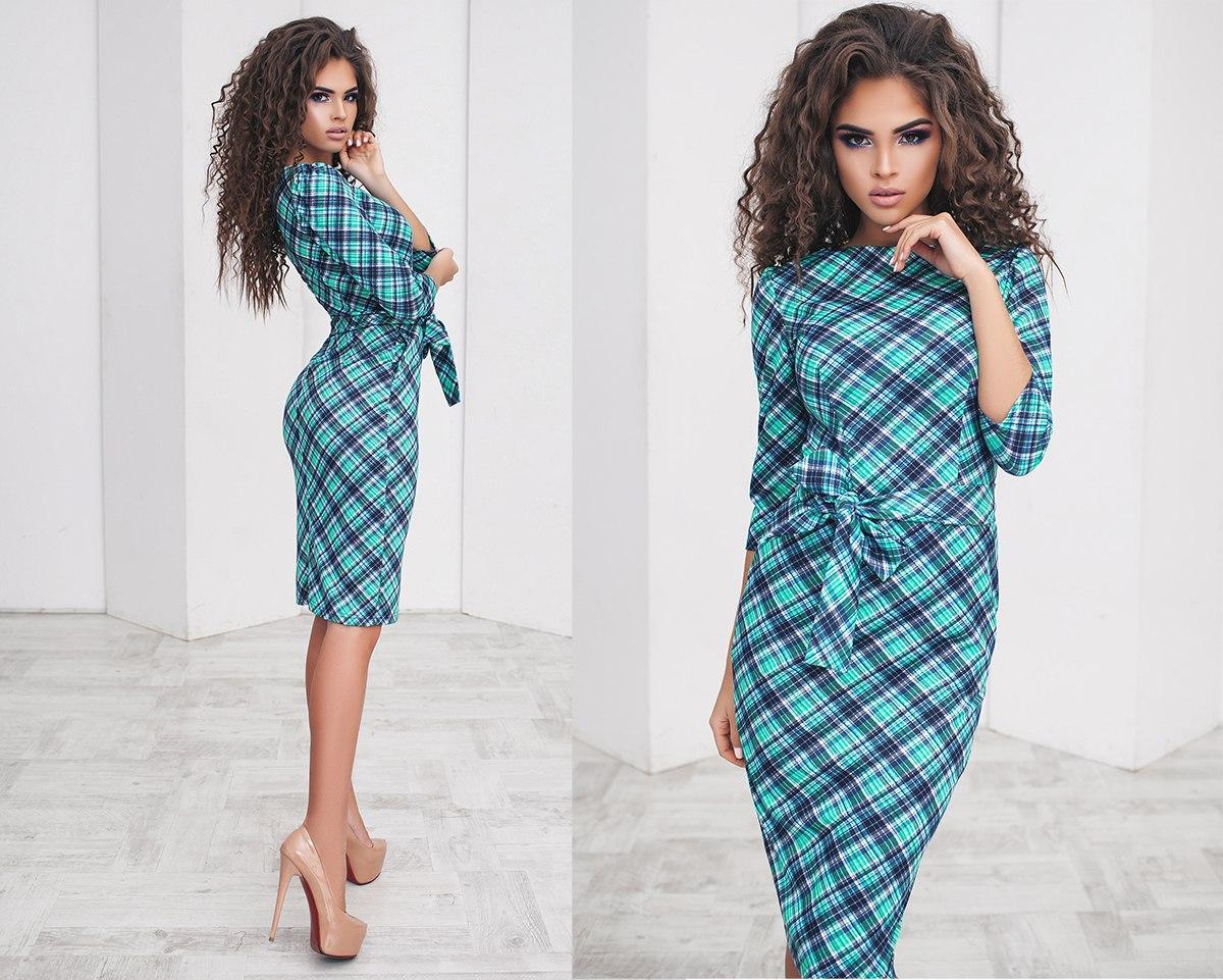 Елегантне облягаюче жіночу сукню-міді з длиным рукавом з поясом + кольору