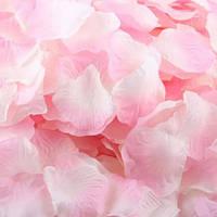 Лепестки роз искусственные бело-розовые