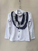 Школьная блуза  нарядная для девочек 5-8 лет. Белая . Оптом .Турция.