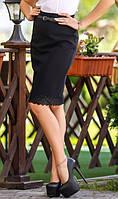 Деловая юбка карандаш с кружевным узором