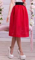 Трендовая юбка сетка красная