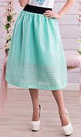 Трендовая юбка сетка бирюзовая