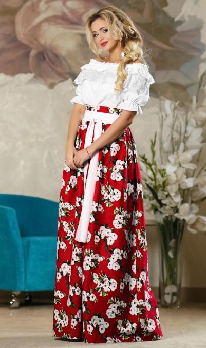 Принтованная юбка в пол красная