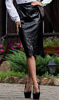 Строгая юбка с кожаным передом
