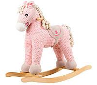Игрушечная пони - качалка с музыкой цврозовый ROCK MY BABY (JR6011)