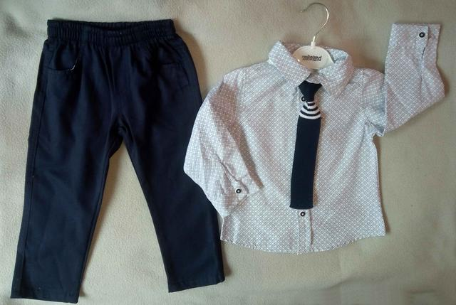 Нарядный детский костюм для мальчиков 2-5 лет, рубашка с длинным рукавом с галстуком, Турция, оптом