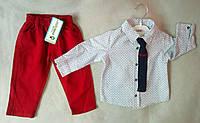 Нарядный детский костюм для мальчиков 6-18 мес, рубашка с длинным рукавом с галстуком, Турция, оптом