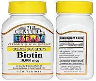 21st Century, Биотин, 10000 мкг, 120 таблеток