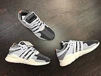 Кроссовки мужские Adidas EQT Primeknit Zebra D1978 черно-белые