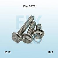 Болт высокопрочный с шестигранной головкой и фланцем DIN 6921 M12 класс прочности 10.9