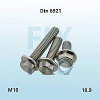 Болт высокопрочный с шестигранной головкой и фланцем DIN 6921 M16 класс прочности 10.9