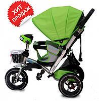 Детский трехколесный велосипед-коляска Baby trike CT-90, надувные колеса, аналог Кроссер Т-350,зеленый