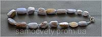 Бусы из крупных кусков редкого голубого агата (сапфирина)