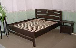 """Высокая деревянная кровать """"Сакура"""". Массив дерева - сосна, покрытие - """"лесной орех"""" (№ 44)."""