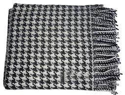 Плед ТIFFANI чистошерстяной белый/черный 140х200см