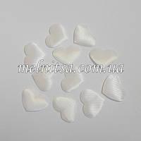 """Тканевый декор """"Сердечко"""", 2,2х1,8 см, атлас, цвет белый, 10 шт."""