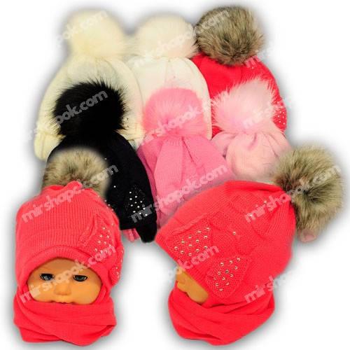 Детский комплект - шапка и шарф для девочки, A726ST, Grans (Польша), утеплитель Softi Term