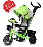 Детский трехколесный велосипед Baby trike CT-61, надувные колеса, зеленый