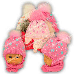 Детский комплект - шапка и шарф для девочки, A776ST, Grans (Польша), утеплитель Softi Term