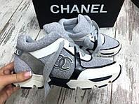 Стильные женские теплые кроссовки Chanel класса люкс, натуральная кожа + шерсть