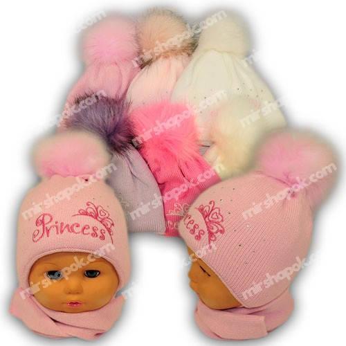 Детский комплект - шапка и шарф для девочки, A778ST, Grans (Польша), утеплитель Softi Term
