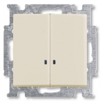 Выключатель 2-клавишный с подсветкой, слоновая кость - Abb Basic 55