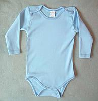 Детский боди 80-98 с длинным рукавом однотонный голубой Турция оптом