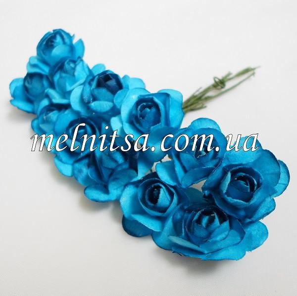 Розочка, 1,5-2 см,  бумага, цвет синий,  12шт.