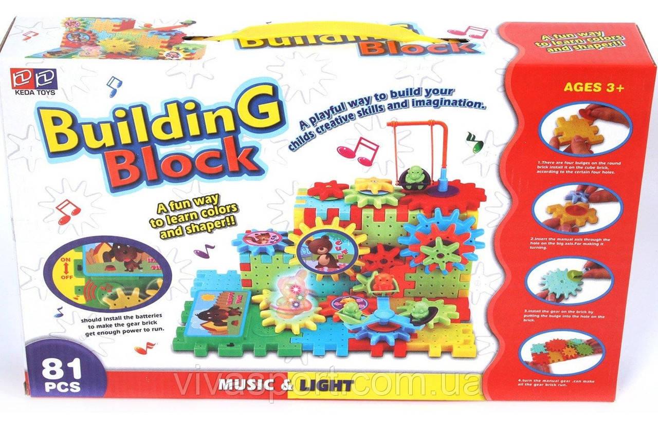 Музыкально-световой конструктор Билдинг блок на 81 деталь, развивающий конструктор Building Block
