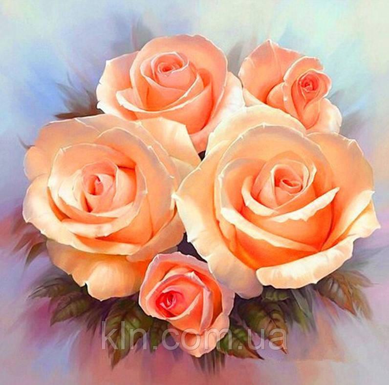 Алмазная вышивка Коралловые розы 30 х 30 см (арт. FS594)