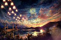 Алмазная мозаика полная выкладка Небо в фейерверках 40 х 50 см (арт. FS593)