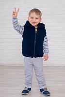 Детский теплый жилет с капюшоном синего цвета