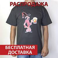 Футболка мужская Козак Око з кухелем, темно-серая, 100% хлопок