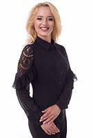 Эффектная черная блуза с рюшами на рукавах
