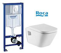 Комплект Инсталляция  с унитазом, Grohe Rapid SL 38840000 с клавишей+Roca Gap A34H478000