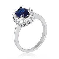 """Серебряное кольцо с имитацией сапфира """"397"""""""