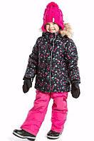 Зимний термокостюм для девочки от 2 до 12 лет (куртка и полукомбинезон), р. 92-146 ТМ Nanö Black / Pink F17 M 272
