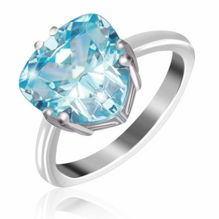 """Серебряное кольцо с имитацией топаза """"399"""""""